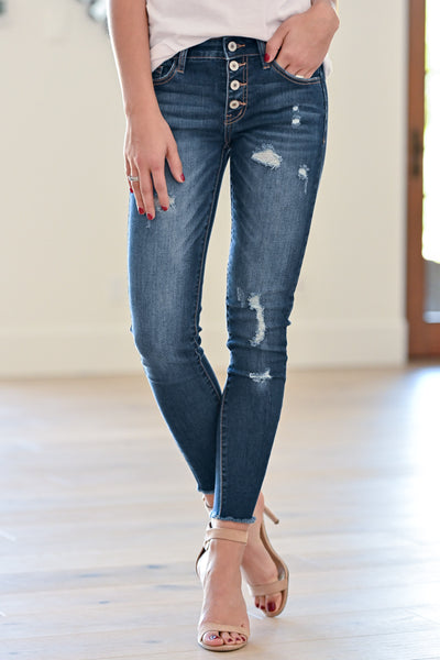 KAN CAN Exposed Button Distressed Jeans - Holly Wash women's dark jeans, Closet Candy Boutique 1