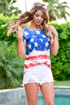 Party in the USA Top - Blue- women's knit short sleeve top with allover American Flag Print - Closet Candy Boutique