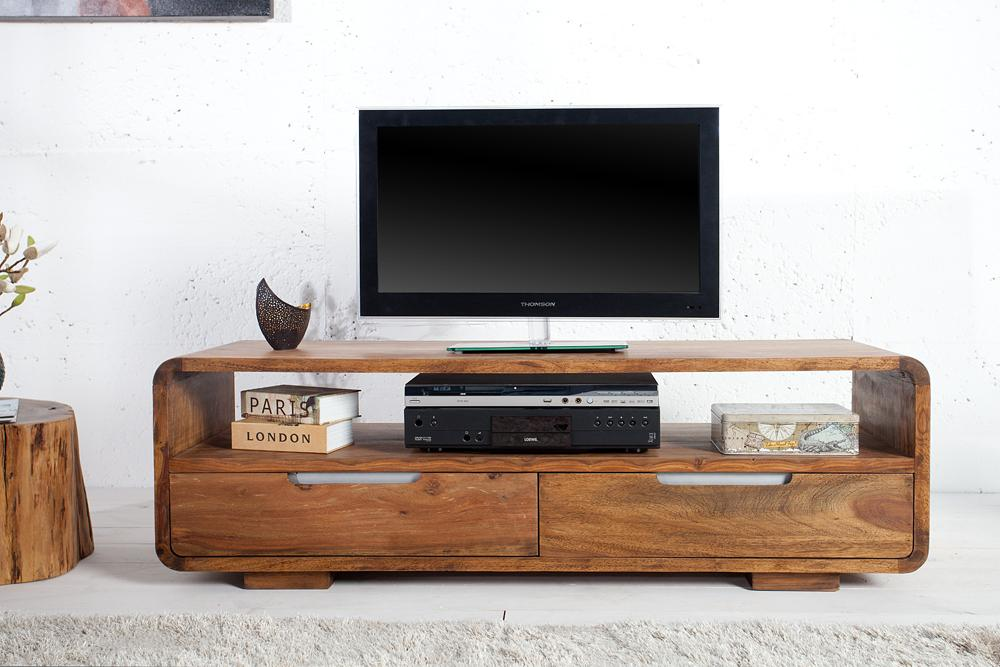 Solid Wood Curved Tv Unit with 2 Drawers