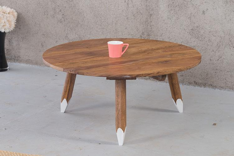 Wooden Buck Round Coffee Table With Pencil Legs Buy