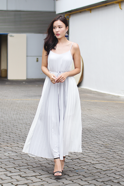 Gerisel Pleated Maxi Dress (Grey)