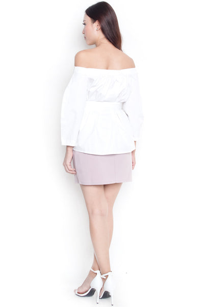 Ryane Belted Off-Shoulder Top (White)