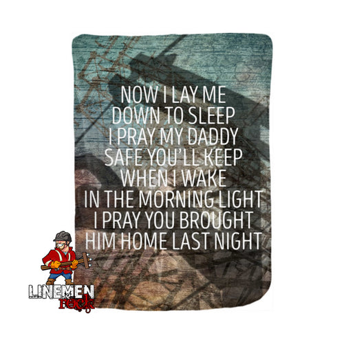 Now I Lay Me Down To Sleep Velveteen Blanket - Linemen Rock - Lineman Shirts