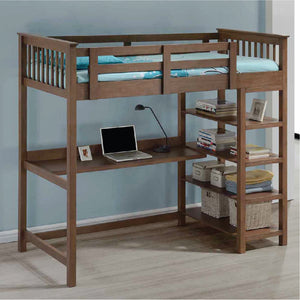 Americana Solid Wood Study Loft Bed - Picket&Rail Singapore's Premium Furniture Retailer