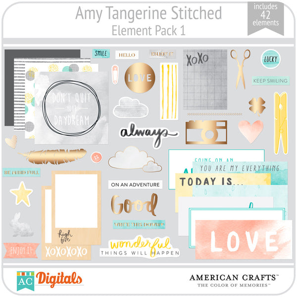 Amy Tangerine Stitched Element Pack #1