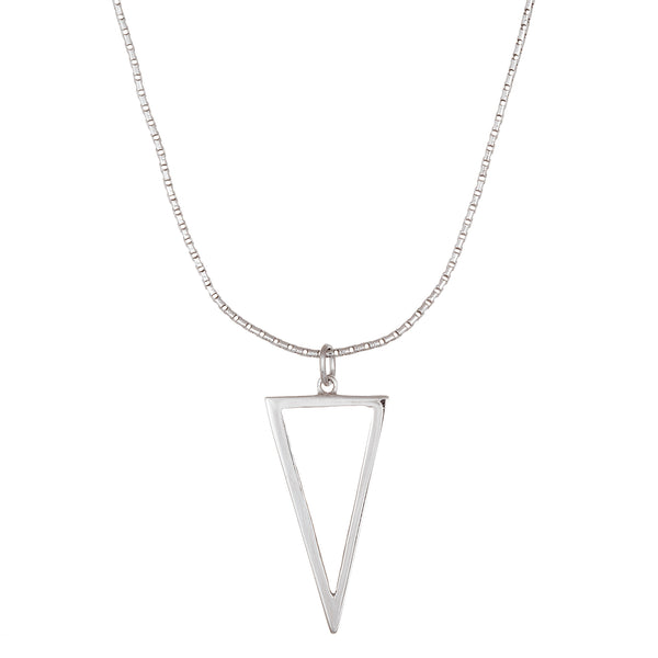 Sterling Silver Eco Dangle Open Triangle Necklace