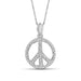 Accent Genuine White Diamond Peace Pendant in 14K White Gold