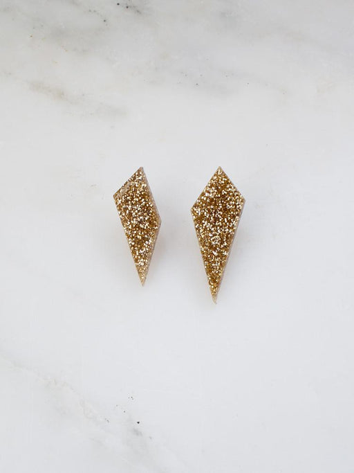 Wolf & Moon Shard Studs Gold Glitter