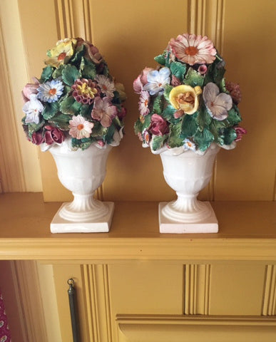 Pair of Floral Flower Topped Vases