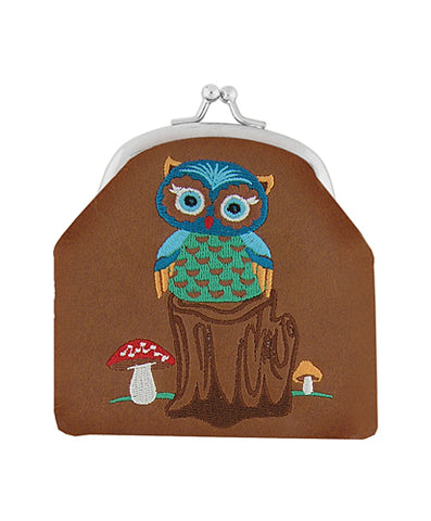 Owl embroidered vegan leather kiss lock frame coin purse