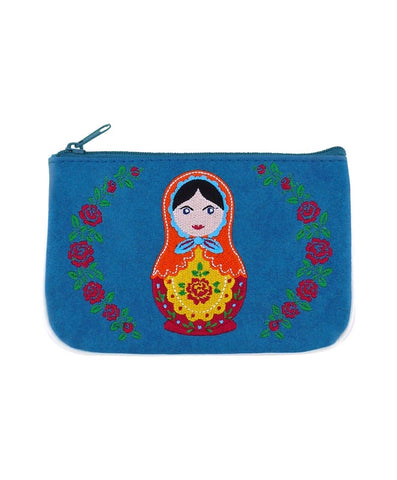 Matryoshka stacking doll embroidered vegan leather small pouch