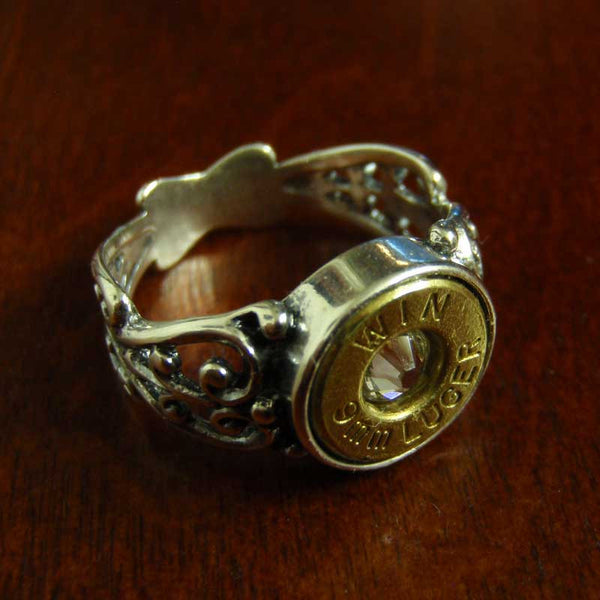 9mm Bullet Filigree Ring - Sterling Silver