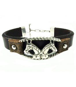 Two Horse Heads Leather Bracelet