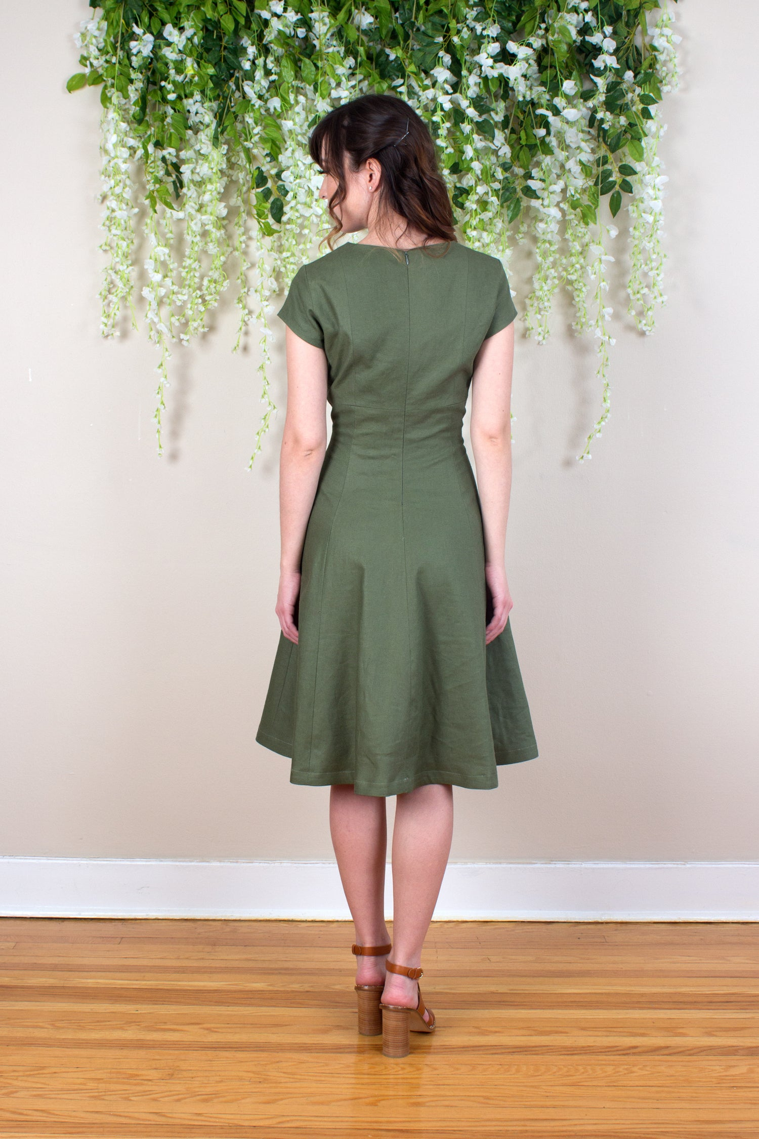 Linen Fit and Flare Dress - Olive
