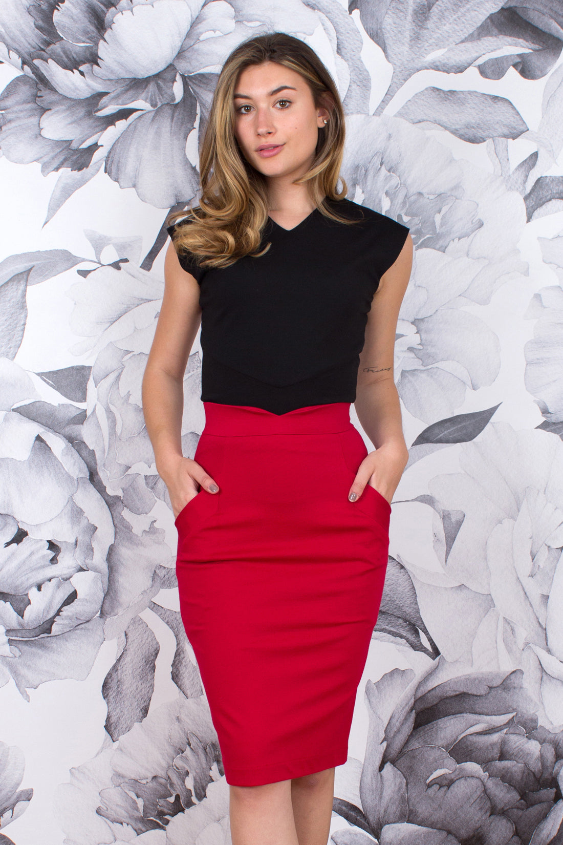 Notch Waist Pencil Skirt