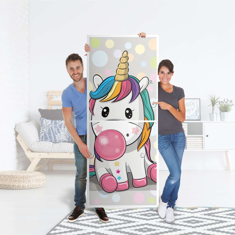 Klebefolie Rainbow das Einhorn - IKEA Billy Regal 6 Fächer - Folie