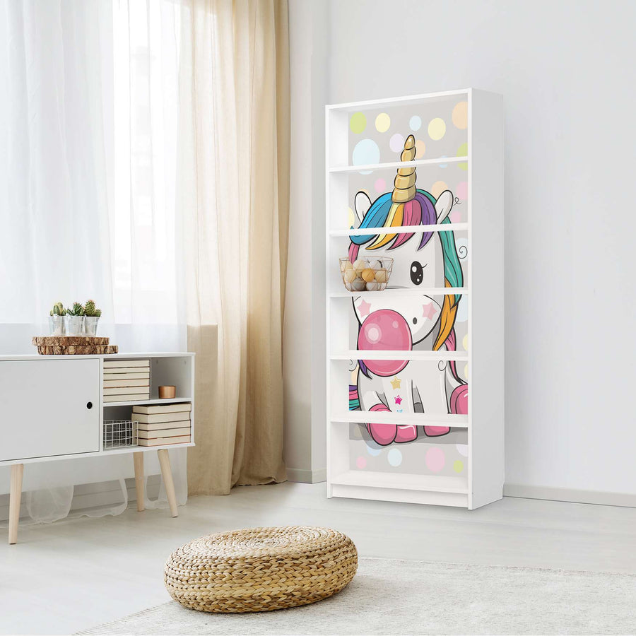 Klebefolie Rainbow das Einhorn - IKEA Billy Regal 6 Fächer - Kinderzimmer