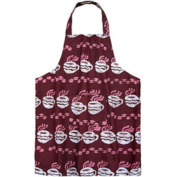 Printed Batik Fabric Apron - Coffee Cups