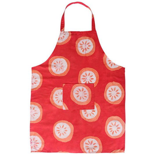 Fair Trade Printed Batik Organic Cotton Reversible Apron-Citrus Papaya