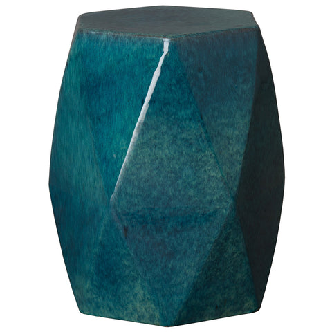 Faceted Garden Stool - Teal