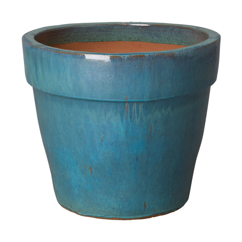 Large Round Planter with Teal Glaze