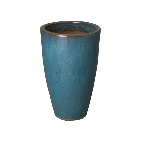 Small Tapered Round Planter with Teal Glaze