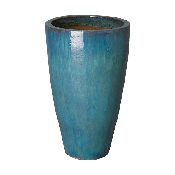Medium Tapered Round Planter with Teal Glaze