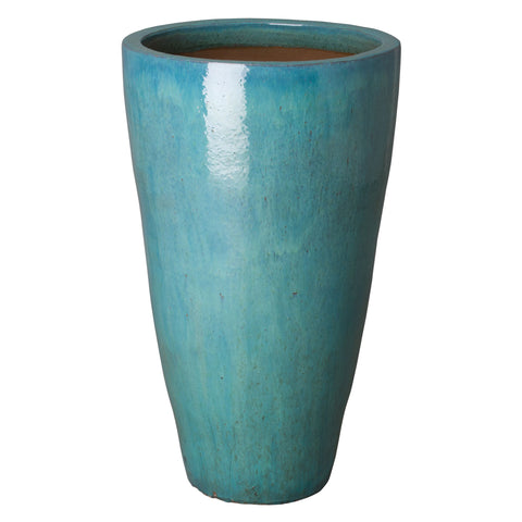 Large Tapered Round Planter with Teal Glaze