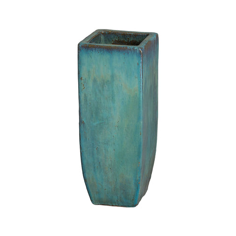 Tall Square Planter with Teal Glaze – Small