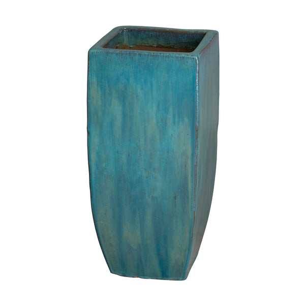 Tall Square Planter with Teal Glaze – Medium