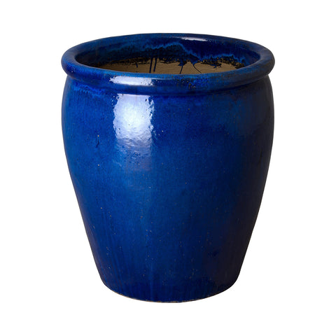 Medium Round Planter with Rolled Edge – Blue