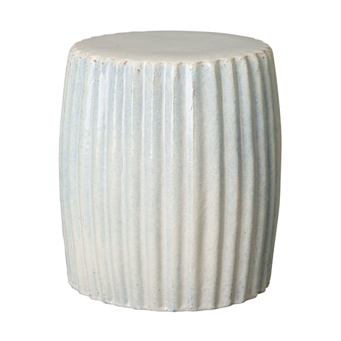 Pleated Garden Stool  with Glossy Glaze - White