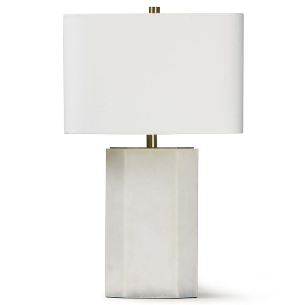 Regina Andrew Alabaster Hexagon Table Lamp with Linen Shade