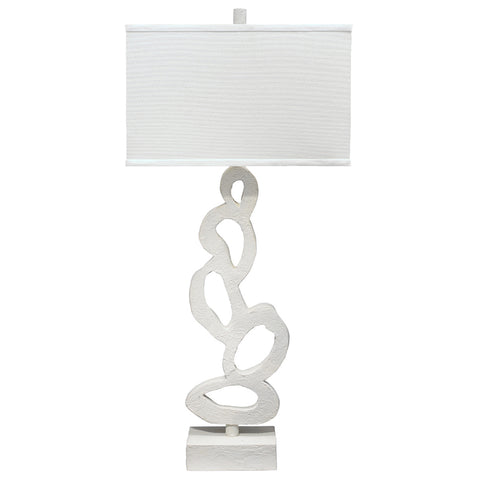 White Gesso Sculptural Table Lamp with Linen Shade