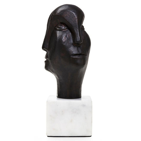 Bungalow 5 Bronze Head Sculpture on White Marble Base