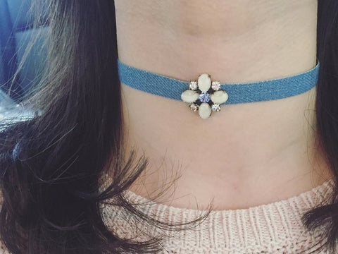 Denim Jeweled Choker