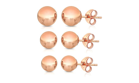 18K Gold Plated Ball Stud Earrings (3-Pair-Pack)