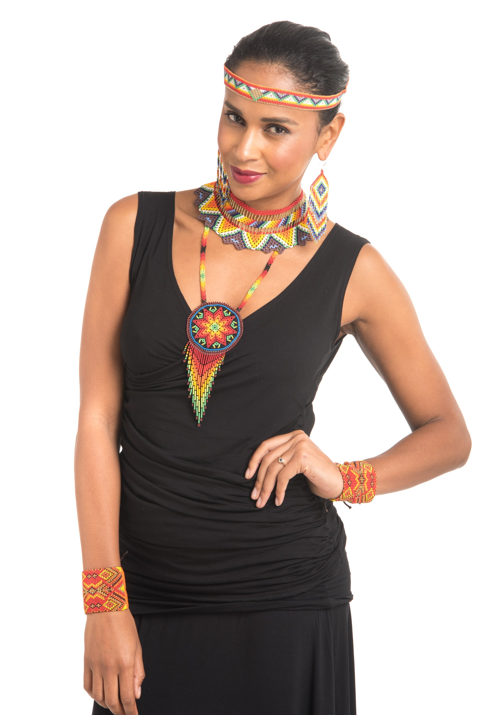 Medicine Beaded Collar Necklace Rainbow