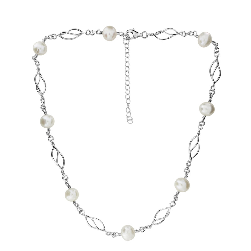 Silver & Freshwater Pearl Spirals Necklace