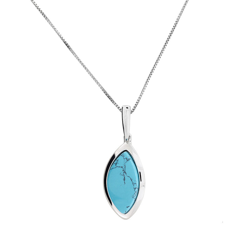 Silver & Turquoise Marquise Pendant