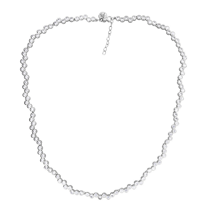 Silver & Cubic Zirconia Eternity Linked Necklace