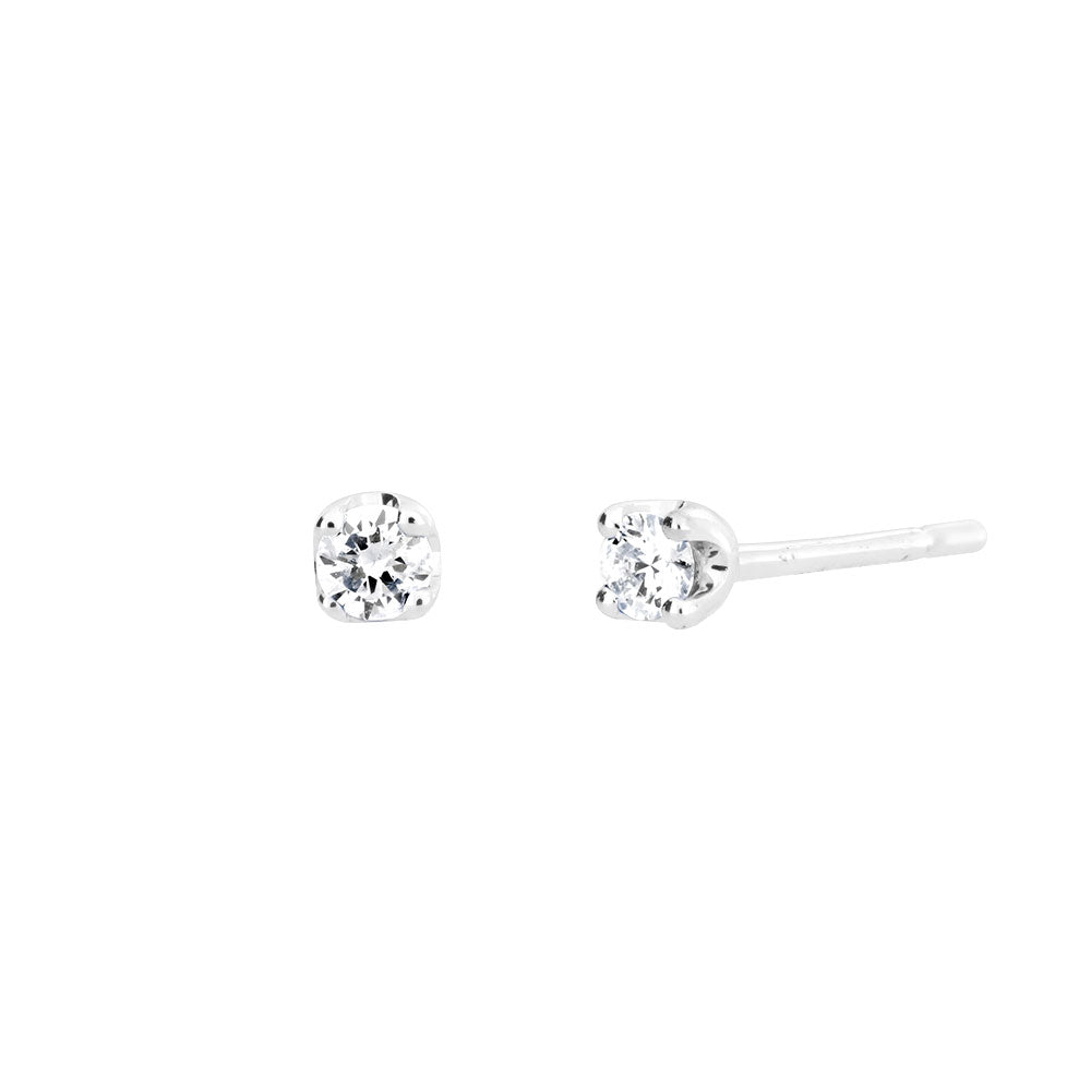 White Gold & Diamond Claw Stud Earrings; 0.08ct