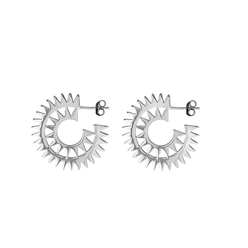 Silver Sunburst Hoop Earrings