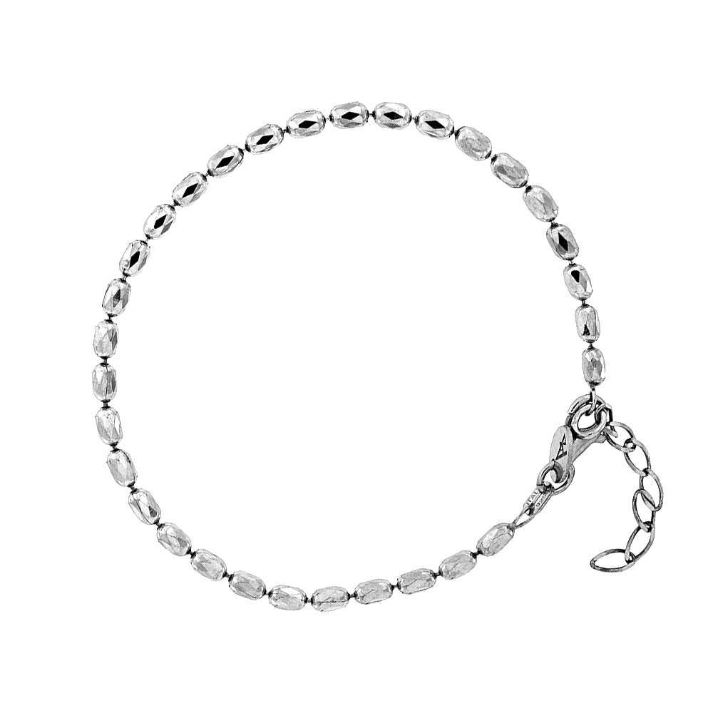 Silver Oval Faceted Beads Bracelet
