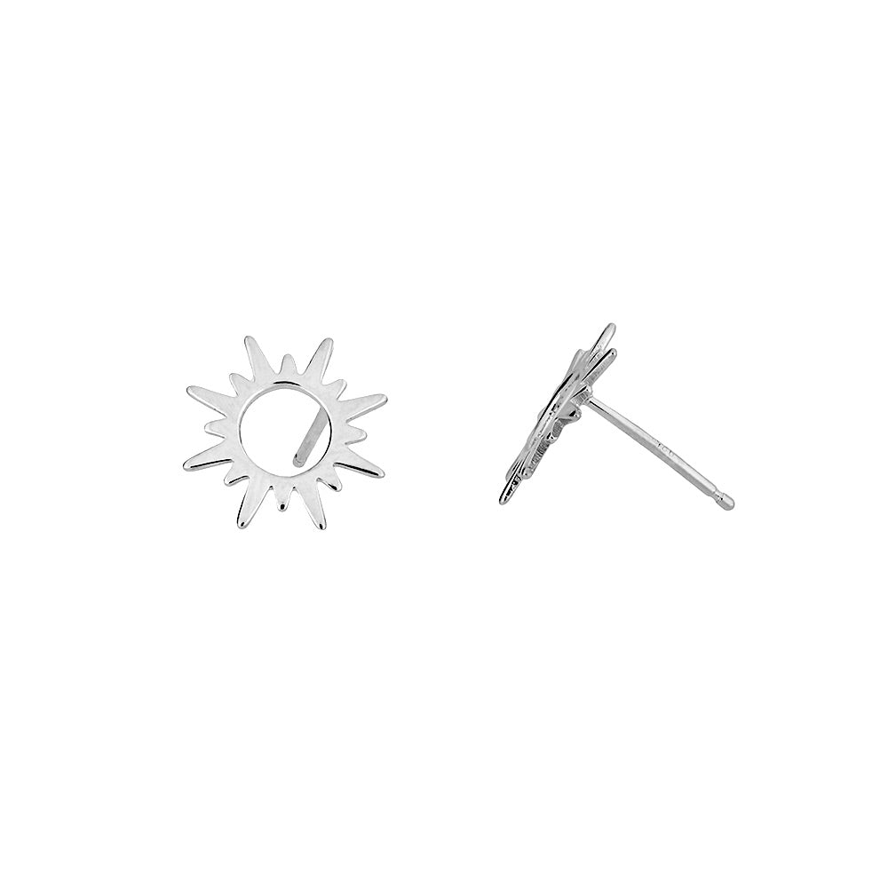 Silver Sunburst Stud Earrings