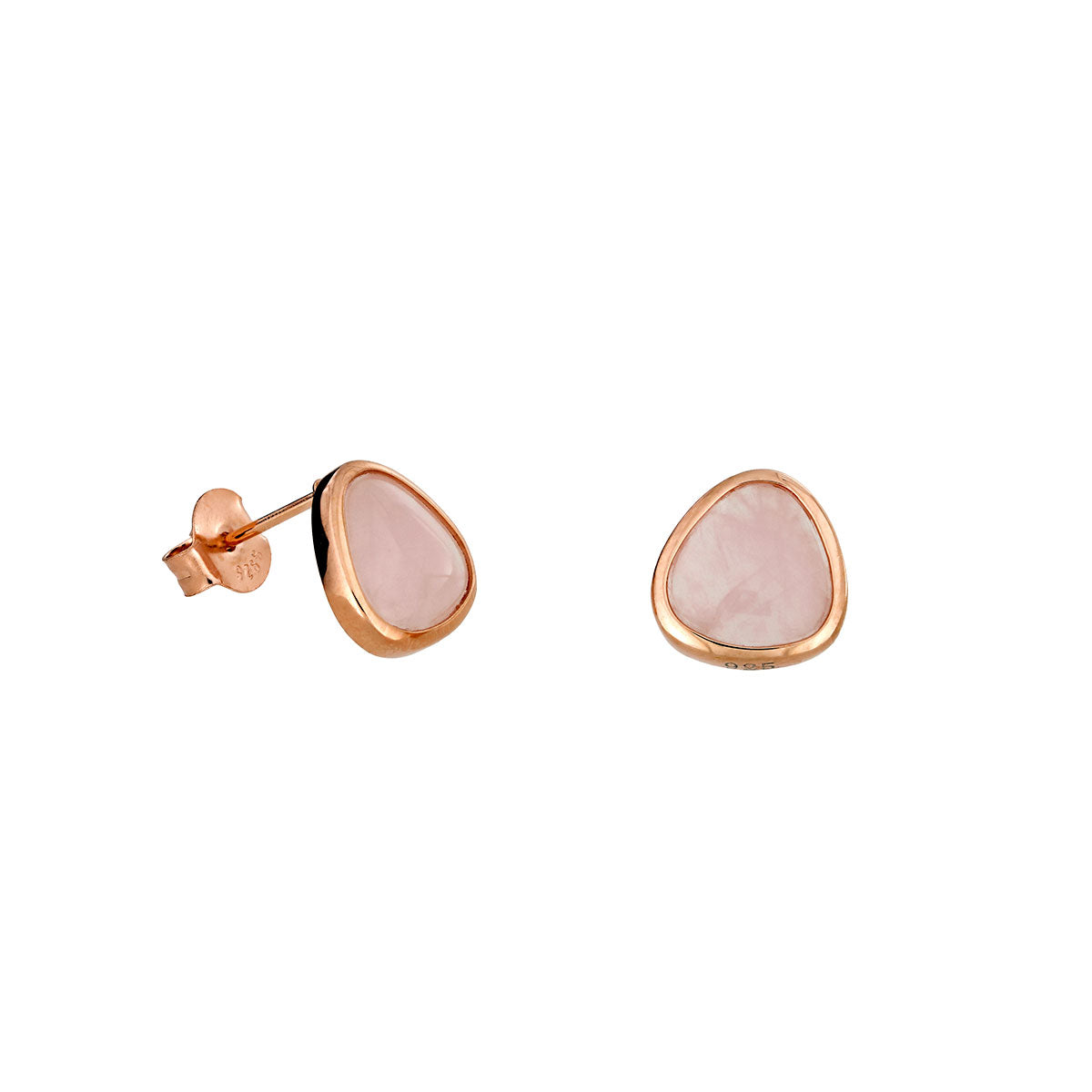 Rose Quartz & 18ct Gold Vermeil Stud Earrings