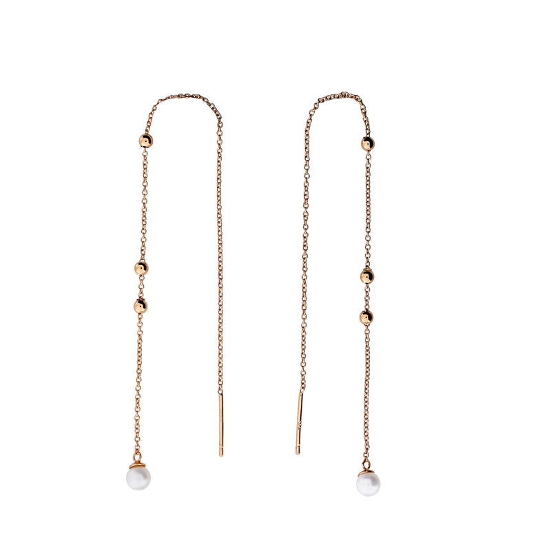 Tribeca Pearl & Bead Pull-Through Earrings