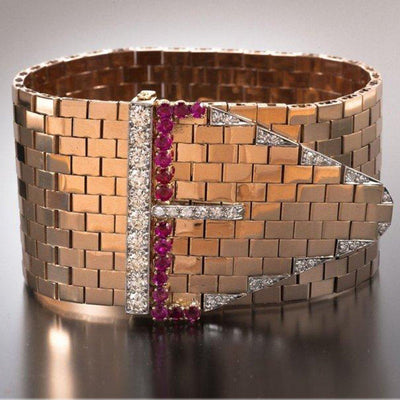 Bulgari Retro Ruby Diamond Rose Gold Cuff - Tiina Smith Jewelry