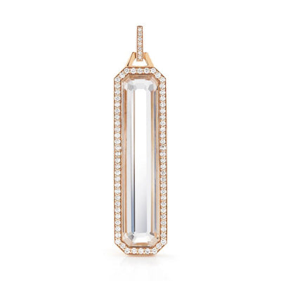 Walters Faith Diamond and Rock Crystal Tablet Pendant in Rose Gold