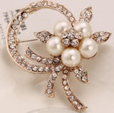 Vintage Style Rhodium Plated Clear Austria Crystals Imitation Pearl Big Bow Brooch for women